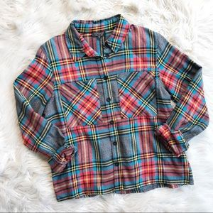 Topshop Plaid Flannel Button Down Top f502